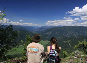 Brian and Sonja enjoying the view all the way to Mabel Lake from our famous house mountain 'the Camels Hump